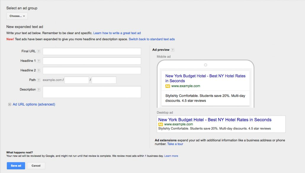 Google AdWords: Google Extended Text Ads