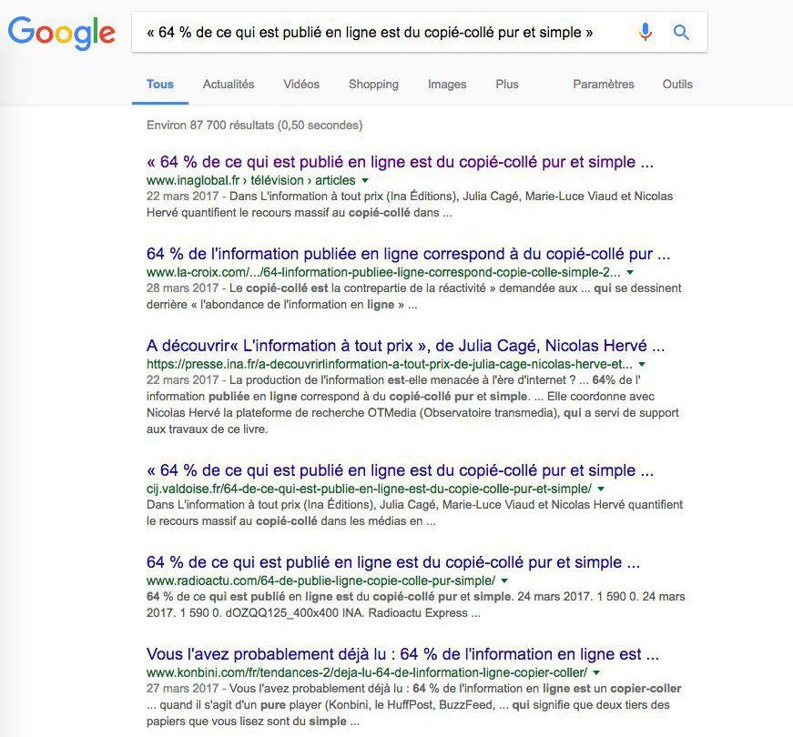 64% de ce qui es publié en ligne est du copié-collé pur et simple