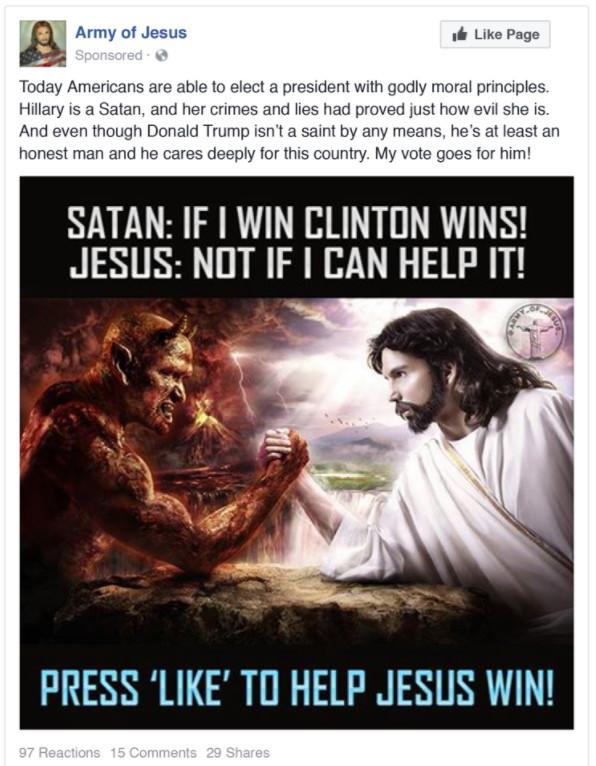 Fake News ? Voici le type de publicité achetée par le gouvernement russe lors de l'élection présidentielle américaine de 2016