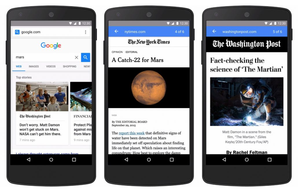 Google AMP, exemple de mise en scène pour le Washington Post ou le New York Times