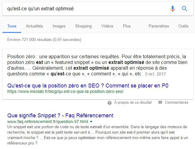 Un extrait optimisé Google, sur une requête à propos des... extraits optimisés... ;-)